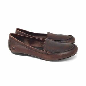 Born Loafer Flat Shoes Brown Slip On Leather 9